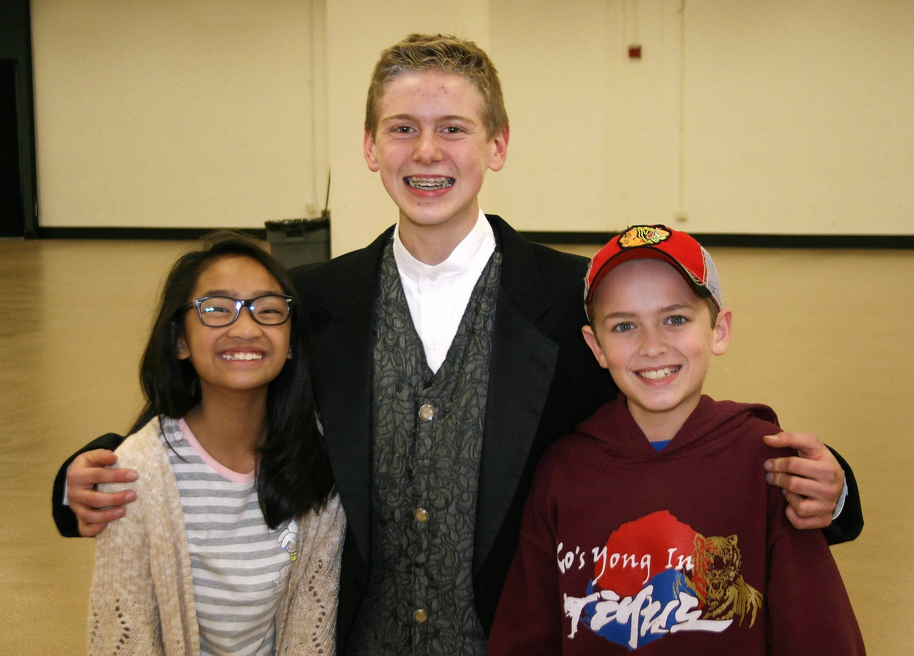 "Annie (Auren Briones of Gilbert), Mr. Dickens (Nathan Shue of Elgin), and Jack (Will Zimmerman of Bartlett) rehearse for CTE's ""A Ghost Tale for Mr. Dickens Jr."" Auren is a fifth-grader at Gilberts Elementary, Nathan is an eighth-grader at Kenyon Woods Middle School and Will Zimmerman is a seventh-grader at Kenyon Woods Middle School."