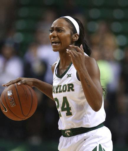 Baylor guard Chloe Jackson directs a play against Saint Francis during the second half of an NCAA college basketball game Thursday, Nov. 8, 2018, in Waco, Texas. Baylor won 116-58.