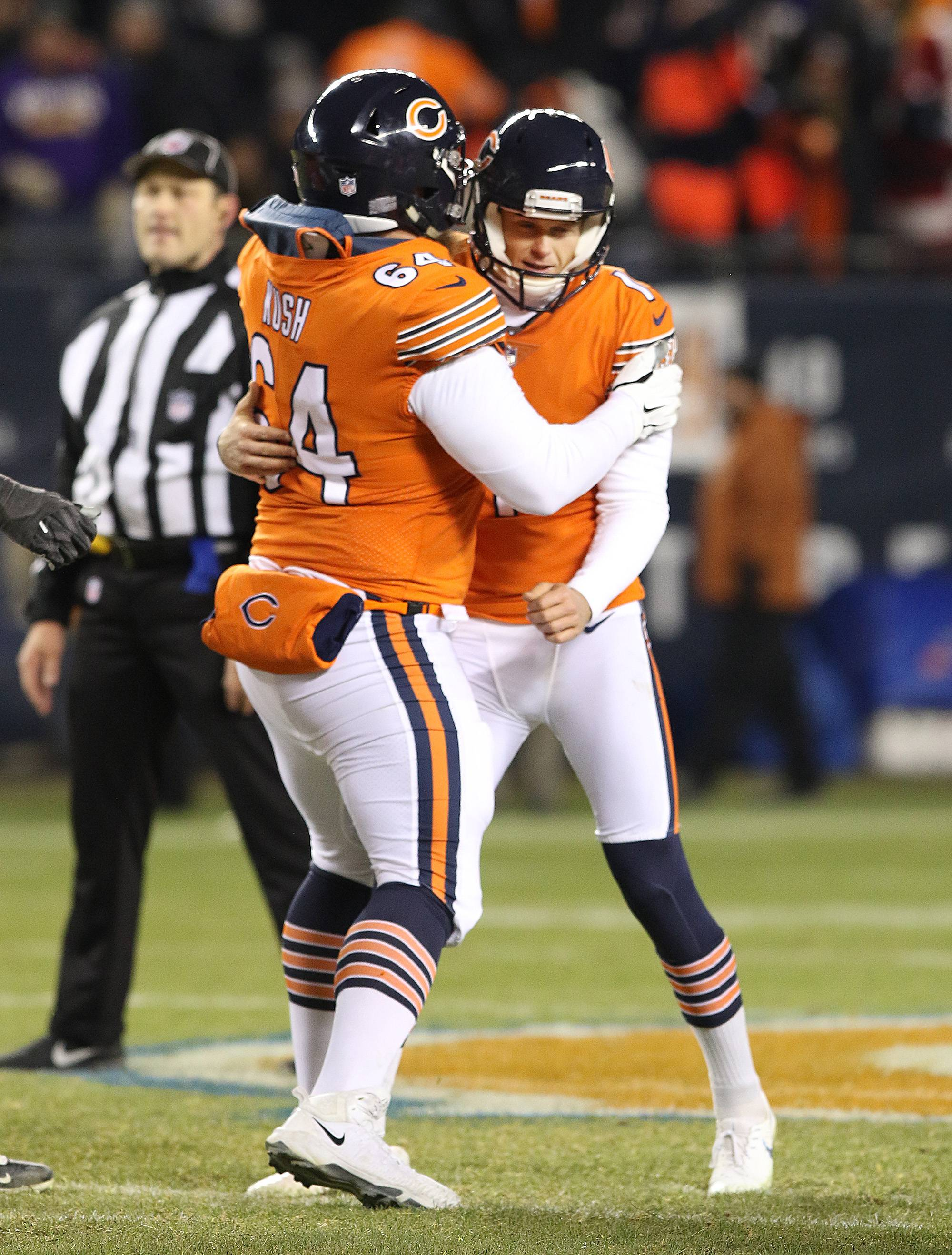 Bears kicker Cody Parkey celebrates with lineman Eric Kush after hitting a late fourth quarter field goal during the victory over Minnesota Sunday at Soldier Field.