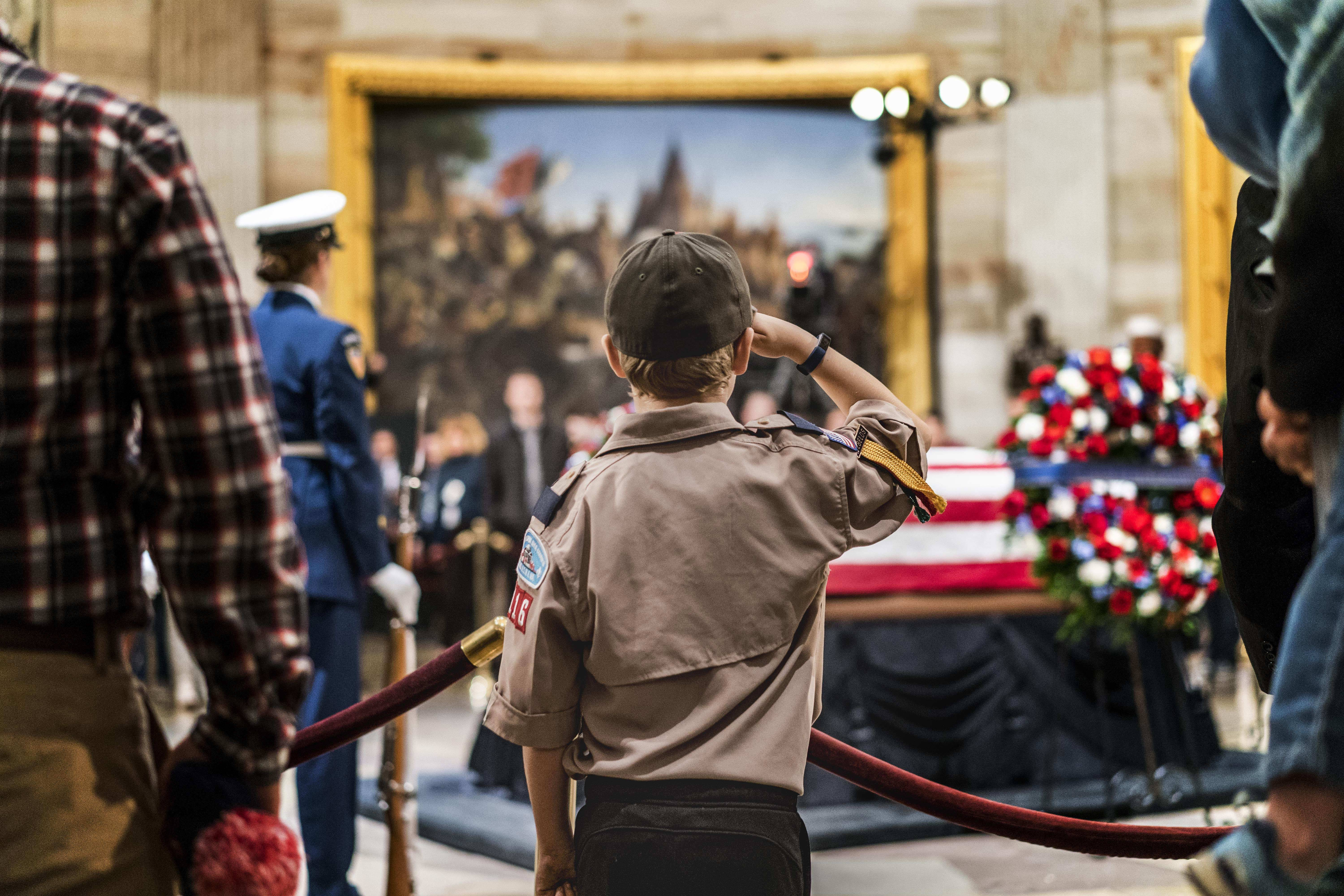 Crowds gather during the public viewing as former President George H.W. Bush lies in state at the U.S. Capitol rotunda in Washington.