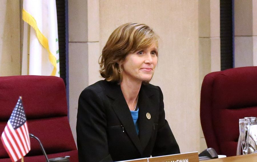 Democrat Sandy Hart, of Lake Bluff, took over the role of Lake County Board chairman on Monday.