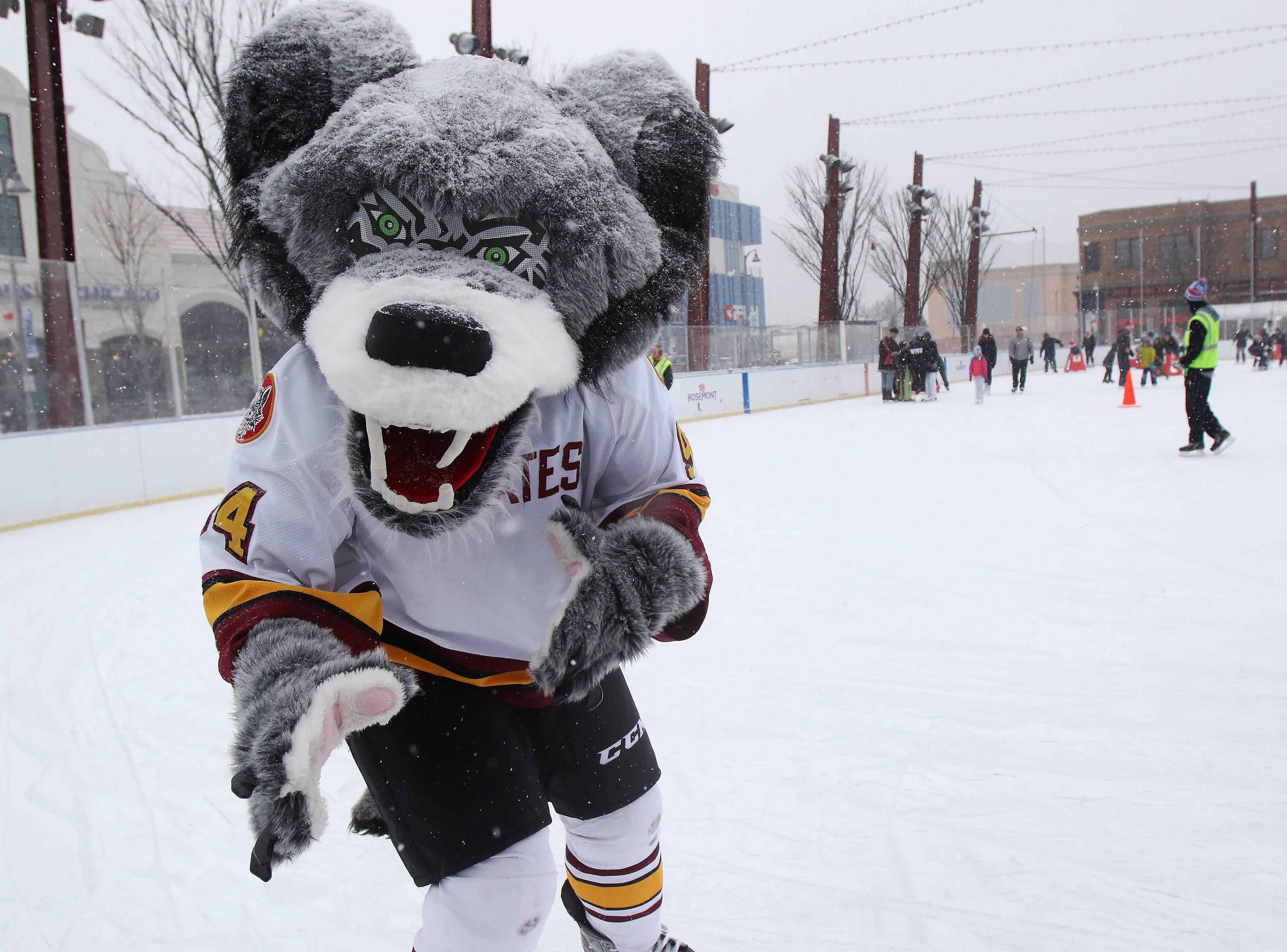 Chicago Wolves' mascot Skate greets children as he skates around the rink during a previous Characters on Ice event at the Chicago Wolves Ice Rink at Parkway Bank Park in Rosemont.
