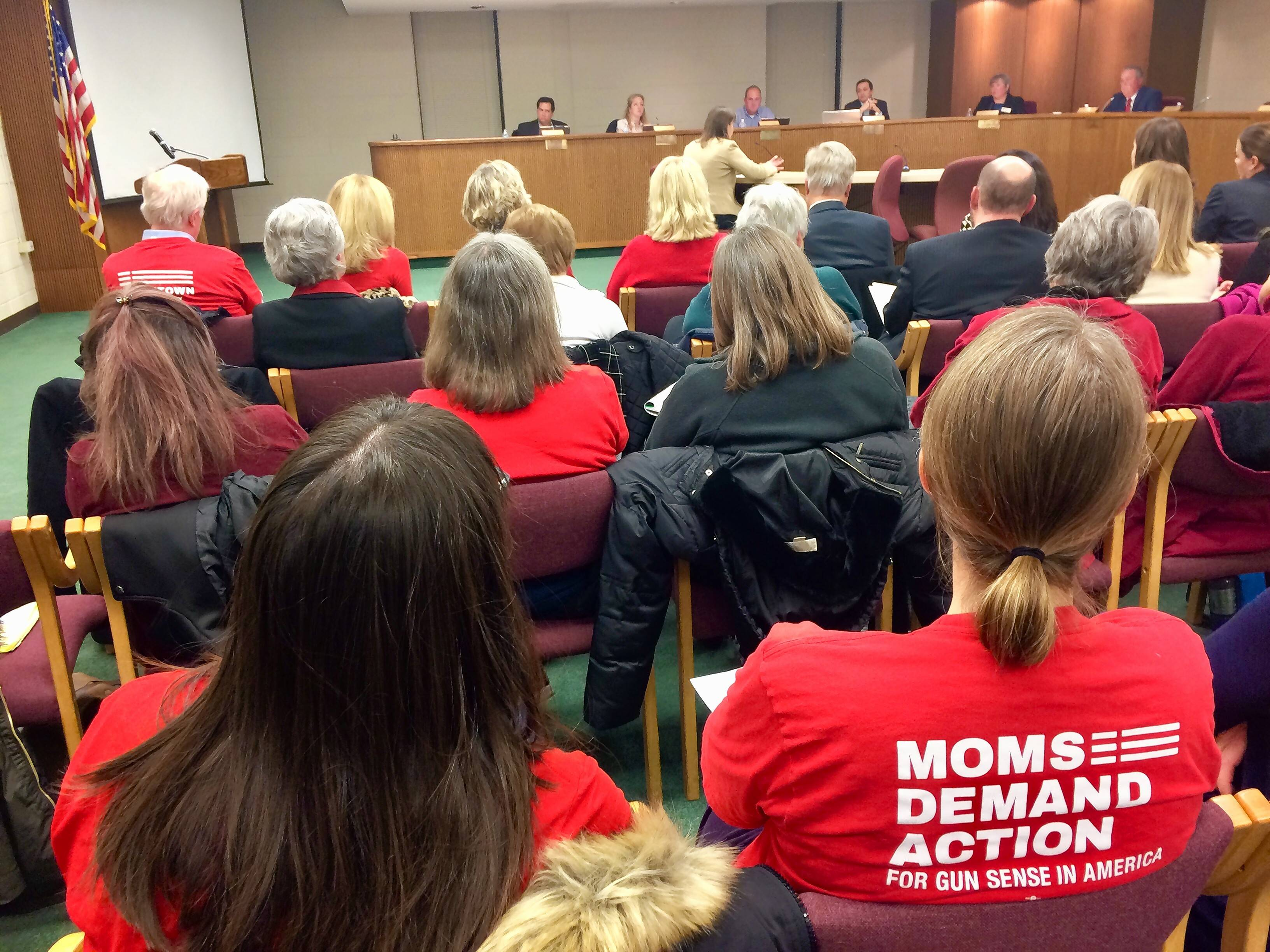 An idea to have armed retired police officers working front-office jobs to boost security at schools has been placed on hold at Palatine Township Elementary District 15. Some suburban members of Moms Demand Action for Gun Sense in America attended Wednesday night's District 15 school board meeting in Palatine to speak out against the proposal.