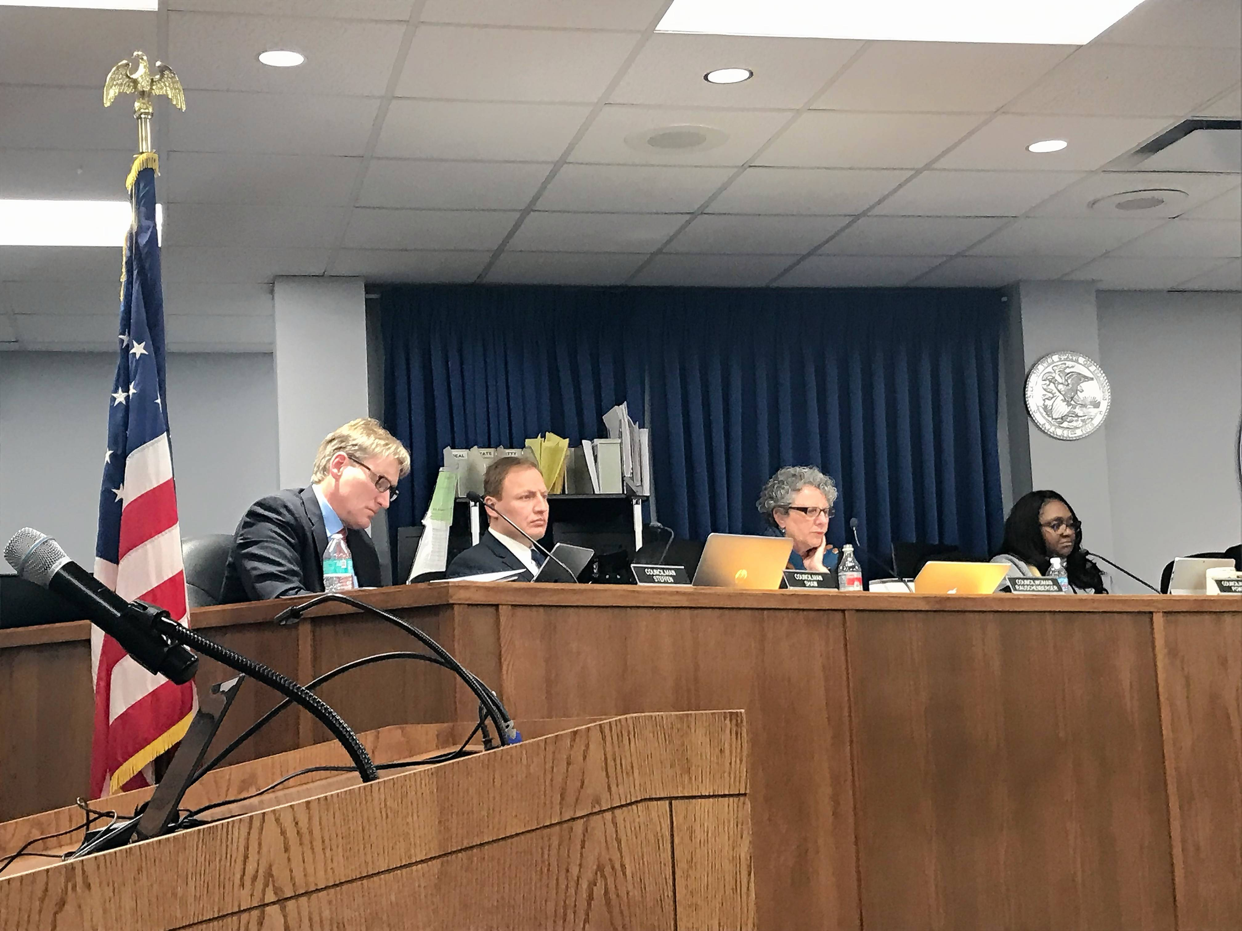 "The Elgin City Council unanimously approved the 2019 budget and flat property tax levy Wednesday night. Councilman Toby Shaw, second from left, said that because of growth throughout the city, the average homeowner is expected to get ""a slight reduction"" on the property tax bill."