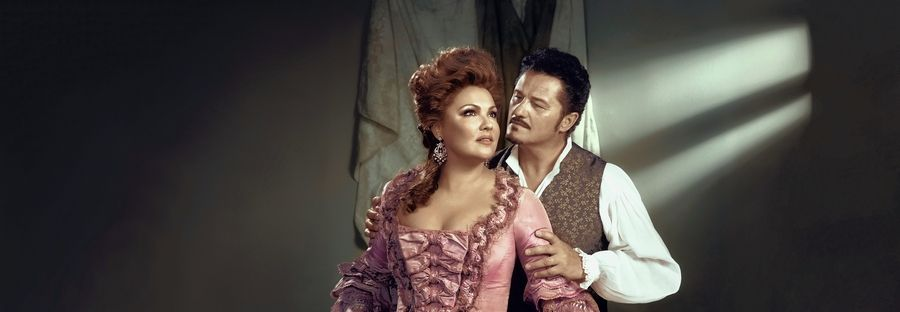 "Anna Netrebko as Adriana and Piotr Beczała as Maurizio in Cilea's ""Adriana Lecouvreur."" The production directed by Sir David McVicar is screened in suburban movie theaters on Saturday, Jan. 12, and Wednesday, Jan. 16, as part of the Metropolitan Opera's Live in HD series."