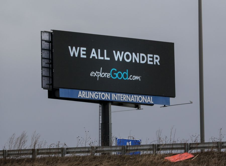 A billboard in Arlington Heights is one of many promoting ExploreGod.com.