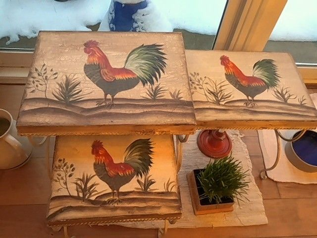 "Susan Anderson-Khleif bought some cute ""Rooster Tables"" at an estate sale. She considers them a present from her husband Baheej, who died six years ago."