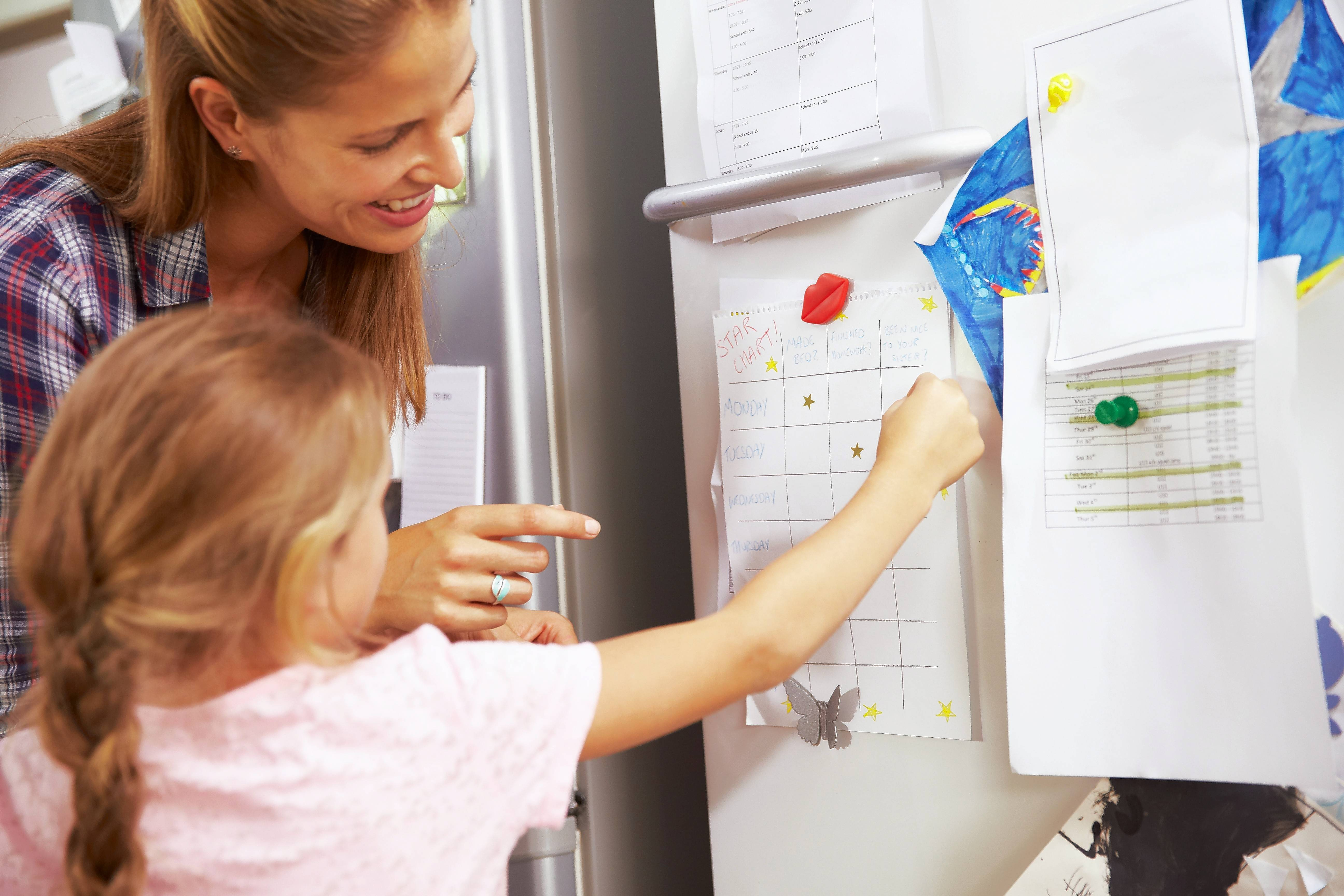 Families can use sticker charts, so young children can see if they are making progress toward their goals.