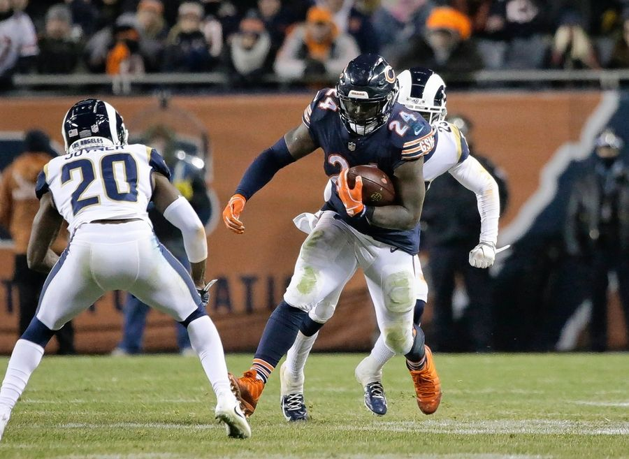 Chicago Bears running back Jordan Howard (24) runs against the Los Angeles Rams during the second half of an NFL football game Sunday, Dec. 9, 2018, in Chicago.