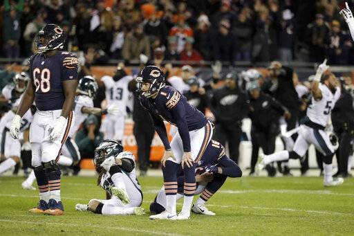 "FILE - In this Jan. 6, 2019, file photo, Chicago Bears kicker Cody Parkey (1) reacts after missing a field goal in the closing minute during the second half of an NFL wild-card playoff football game against the Philadelphia Eagles, in Chicago. Bears general manager Ryan Pace wouldn't say if Parkey will return for another season, and coach Matt Nagy called out the struggling kicker for appearing on the ""Today� show last week. Pace was adamant Monday, Jan. 14, 2019, that the Bears need improvement in the kicking game. He also said ""those are things that need to play out� when asked if Parkey will return for a second season."