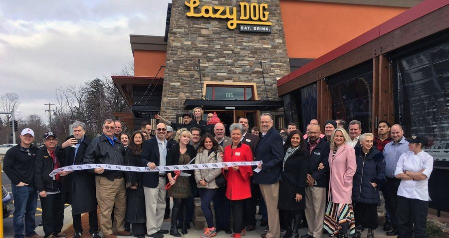 GLMV Chamber of Commerce, Village of Vernon Hills, were among the crowd gathered for the Lazy Dog Grand Opening Ribbon Cutting ceremony January 9.Carol Levin, GLMV Chamber of Commerce
