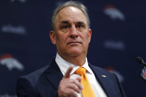 FILE - In this Thursday, Jan. 10, 2019 file photo, Denver Broncos new head coach Vic Fangio speaks during a news conference at the team's headquarters in Englewood, Colo. The Denver Broncos have plucked another assistant coach off the Chicago Bears staff and they might not be done. New head coach Vic Fangio hired outside linebackers coach Brandon Staley to a similar role in Denver. And Fangio is interviewing Ed Donatell for his defensive coordinator job in Denver after Donatell spent four season as Bears defensive backs coach while Fangio was Chicago's defensive coordinator.