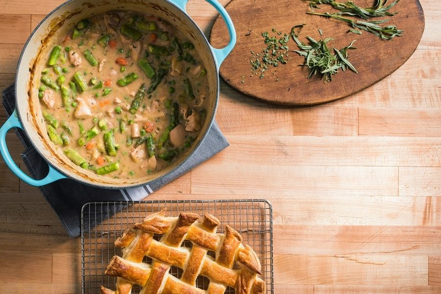 "Chicken Potpie made from the recipe that appears in the book ""Cook It In Your Dutch Oven."""