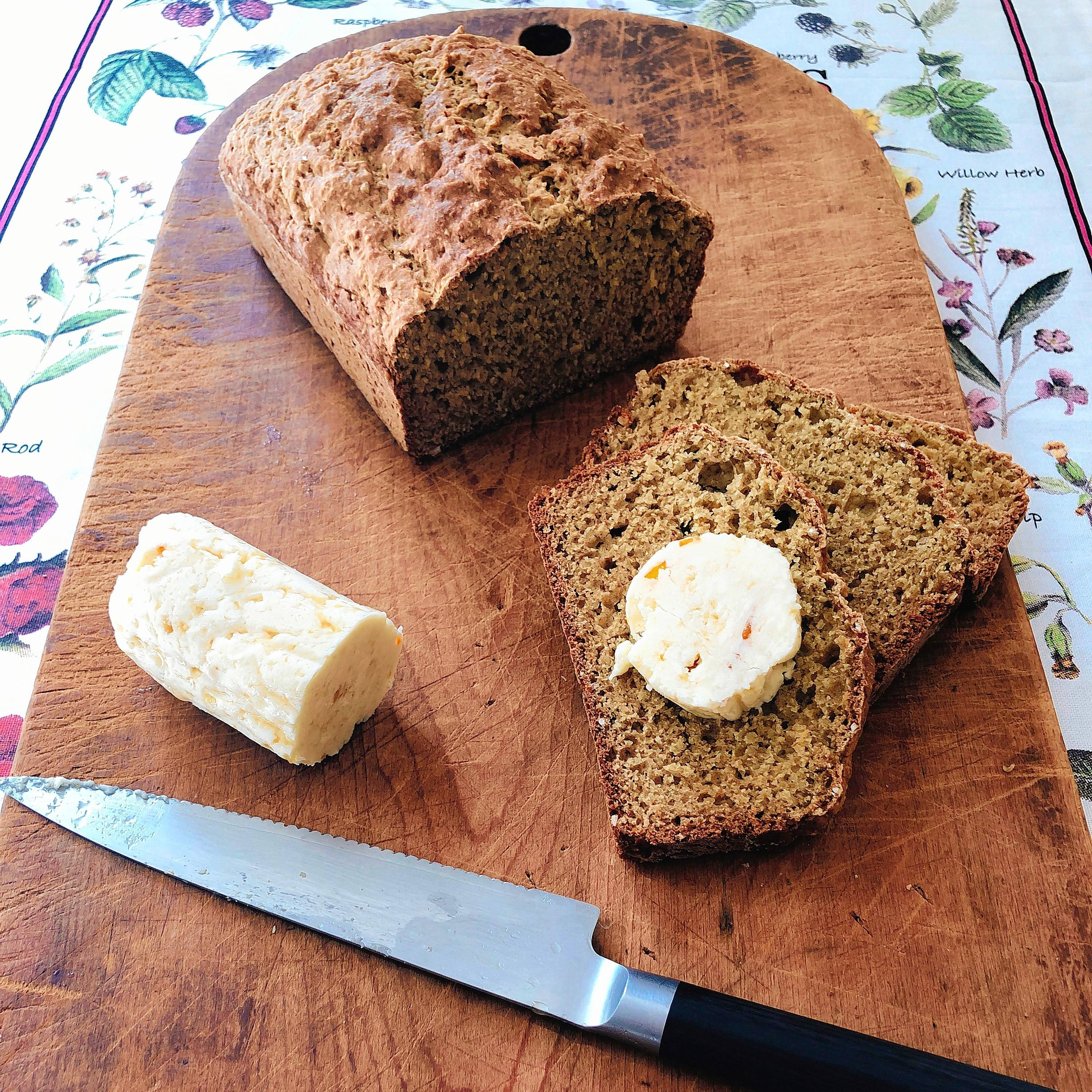 Here's a nubby whole-wheat quick bread with whisky butter
