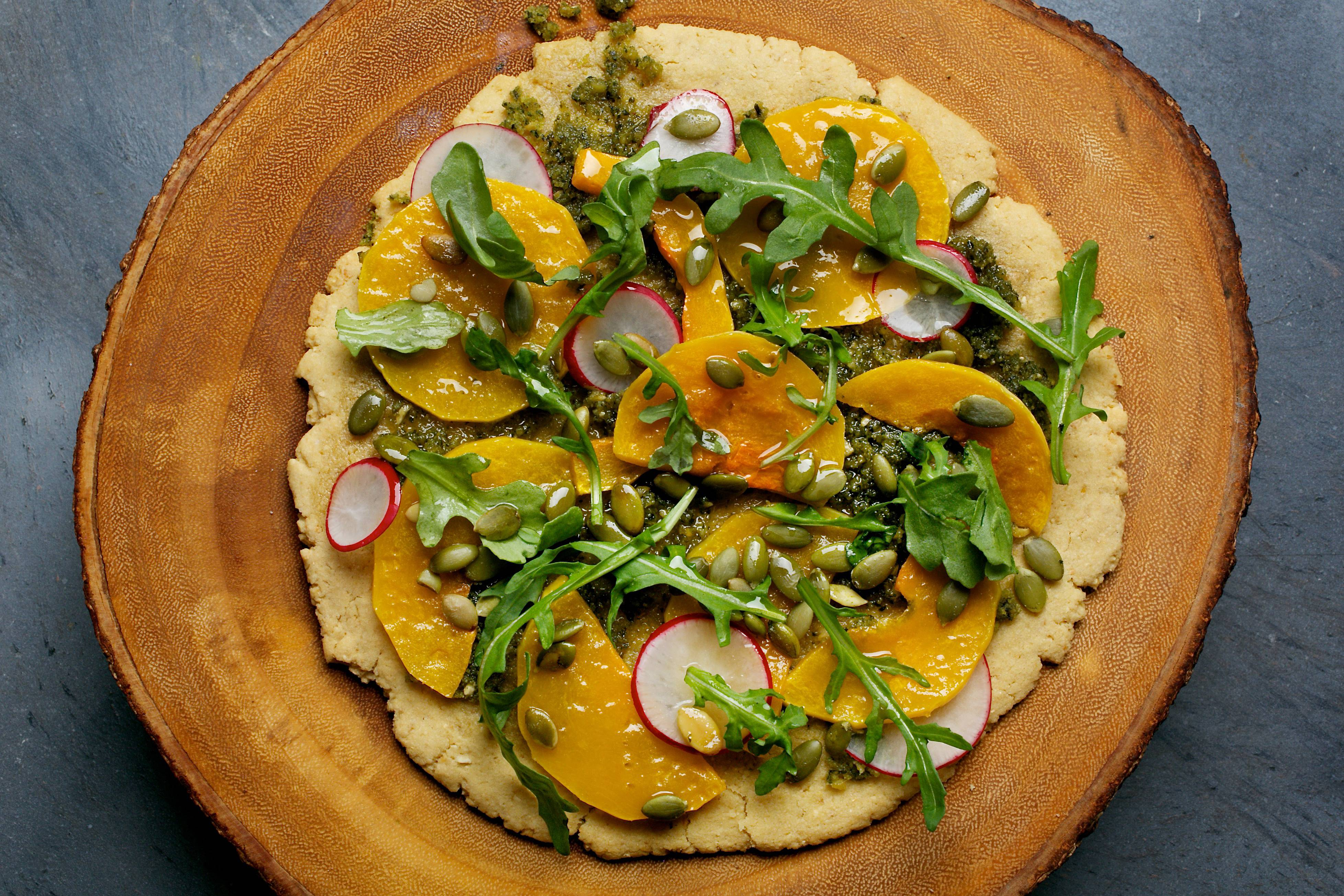 Feel free to replace the squash with the seasonal vegetables of your choice for Pesto Socca Pizza. See the recipe on Page 4.
