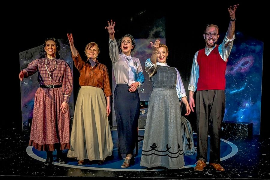 "Margaret Leavitt (Kassandra Hesek), left, Williamina Fleming (JoAnn Smith), Henrietta Leavitt (Paige Brantley), Annie Cannon (Julie Bayer) and Peter Shaw (Jake Busse) greet the cultural and scientific changes of the future in ""Silent Sky"" at Steel Beam Theatre in St. Charles."