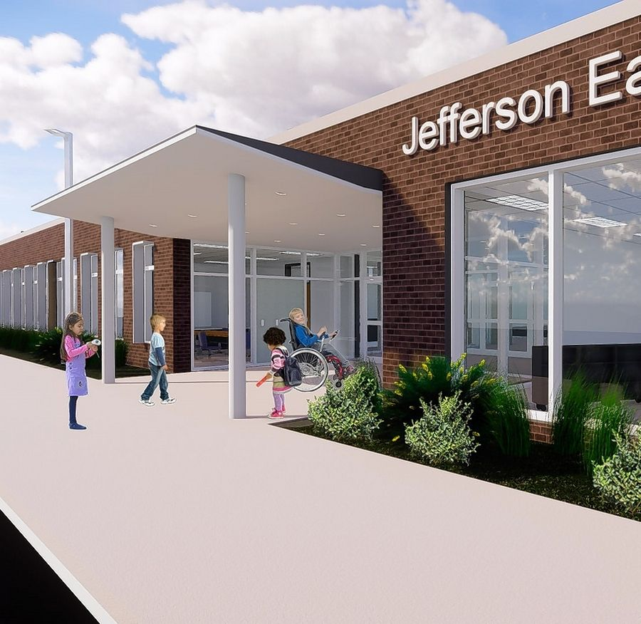 """Certainly the space is going to be designed for a modern early childhood program,"" school board President Brad Paulsen said of the new Jefferson, shown in this rendering. ""It's going to be bright and cheerful."""