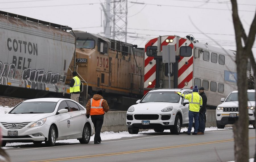 A freight train struck a person in Lombard, which halted all morning rush hour commuter service through the area.