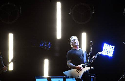 "James Hetfield of Metallica performs during ""I Am The Highway: A Tribute to Chris Cornell"" at The Forum, Wednesday, Jan. 16, 2019, in Inglewood, Calif. (Photo by Chris Pizzello/Invision/AP)"