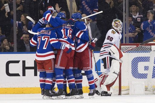 Chicago Blackhawks goaltender Collin Delia (60) reacts as the New York Rangers celebrate a goal by right wing Mats Zuccarello during the first period of an NHL hockey game Thursday, Jan. 17, 2019, at Madison Square Garden in New York.