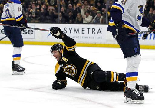 Boston Bruins right wing David Backes (42) celebrates his goal against the St. Louis Blues during the second period of an NHL hockey game Thursday, Jan. 17, 2019, in Boston.