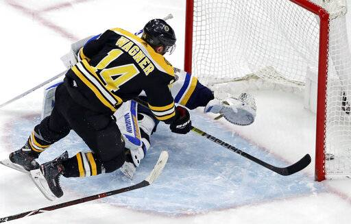 Boston Bruins right wing Chris Wagner (14) scores past the outstretched glove of St. Louis Blues goaltender Jake Allen (34) during the third period of an NHL hockey game, Thursday, Jan. 17, 2019, in Boston.