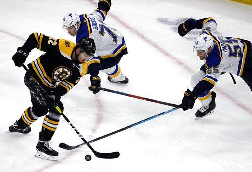 Boston Bruins left wing Peter Cehlarik (22) competes for the puck with St. Louis Blues center Oskar Sundqvist (70) and defenseman Colton Parayko (55) during the first period of an NHL hockey game Thursday, Jan. 17, 2019, in Boston.