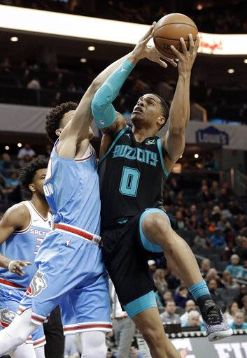 Charlotte Hornets' Miles Bridges (0) drives against Sacramento Kings' Justin Jackson during the first half of an NBA basketball game in Charlotte, N.C., Thursday, Jan. 17, 2019.