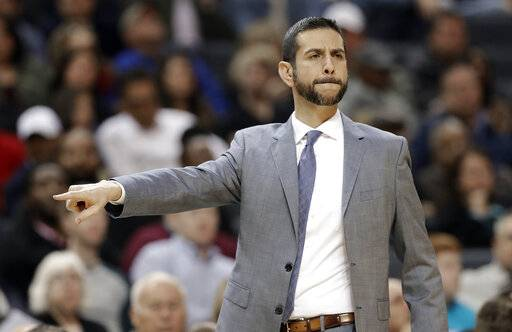 Charlotte Hornets head coach James Borrego directs his team against the Sacramento Kings during the first half of an NBA basketball game in Charlotte, N.C., Thursday, Jan. 17, 2019.