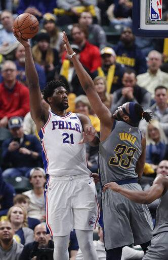 Philadelphia 76ers center Joel Embiid (21) shoots over Indiana Pacers center Myles Turner (33) during the second half of an NBA basketball game in Indianapolis, Thursday, Jan. 17, 2019. The 76ers defeated the Pacers 120-96.