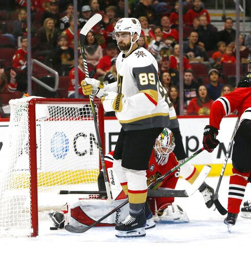 Vegas Golden Knights right wing Alex Tuch (89) reacts after his goal against the Chicago Blackhawks during the second period of an NHL hockey game Saturday, Jan. 12, 2019, in Chicago.