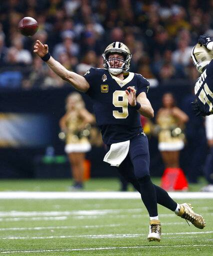 FILE - In this Dec. 23, 2018, file photo, New Orleans Saints quarterback Drew Brees (9) against the Pittsburgh Steelers in New Orleans. Drew Brees is about to play his first game at 40. It's also the biggest game he's played in nine seasons and a Super Bowl is on the line.