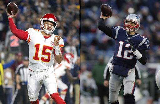 FILE - At left, in a Nov. 19, 2018, file photo, Kansas City Chiefs quarterback Patrick Mahomes throws a pass during an NFL football game against the Los Angeles Rams in Los Angeles. At right, in a Dec. 30, 2018, file photo, New England Patriots quarterback Tom Brady throws during the second half of an NFL football game in Foxborough, Mass. It seems football fans everywhere are suddenly on the Chiefs' bandwagon, enthralled by their record-setting young quarterback and exciting offensive playmakers while hopeful that their amiable old coach can finally win the big one. Then again, maybe they're just fans of anybody facing New England.
