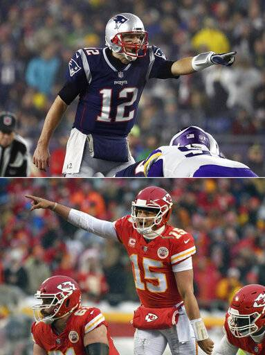 FILE - On top, in a Dec. 2, 2018, file photo, New England Patriots quarterback Tom Brady directs teammates at the line of scrimmage during an NFL football game against the Minnesota Vikings at Gillette Stadium in Foxborough, Mass. Bottom, in a Jan. 12, 2019, file photo, Kansas City Chiefs quarterback Patrick Mahomes (15) calls a play at the line of scrimmage during the first half of an NFL divisional football playoff game against the Indianapolis Colts in Kansas City, Mo. One is the sixth-round pick that became arguably the greatest quarterback in NFL history. The other is the first-round choice in his first full season as starter. Yet there are similarities between the Patriots' Tom Brady and the Chiefs' Patrick Mahomes, and some day their resumes may be similar, too.