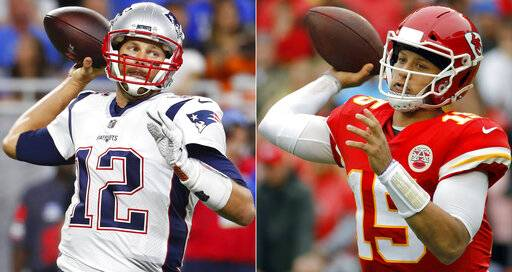 FILE - At left, in a Sept. 23, 2018, file photo, New England Patriots quarterback Tom Brady throws during the first half of an NFL football game against the Detroit Lions, in Detroit. At right, in an Oct. 7, 2018, file photo, Kansas City Chiefs quarterback Patrick Mahomes (15) throws a pass during the first half of an NFL football game against the Jacksonville Jaguars, in Kansas City, Mo. One is the sixth-round pick that became arguably the greatest quarterback in NFL history. The other is the first-round choice in his first full season as starter. Yet there are similarities between the Patriots' Tom Brady and the Chiefs' Patrick Mahomes, and some day their resumes may be similar, too.