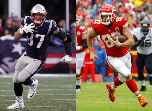 FILE - At left, in a Dec. 30, 2018, file photo, New England Patriots tight end Rob Gronkowski runs during the second half of an NFL football game in Foxborough, Mass. At right, in an Oct. 7, 2018, file photo, Kansas City Chiefs tight end Travis Kelce carries the ball during the first half of an NFL football game against the Jacksonville Jaguars in Kansas City, Mo. Brady and Mahomes get plenty of attention, but they can't do it alone. Patriots running back James White tied Darren Sproles' postseason record with 15 catches in their 41-28 divisional victory over the Chargers, while Rob Gronkowski and Julian Edelman remain dangerous threats. The Chiefs counter with the pass-catching trio of speedy Tyreek Hill, Sammy Watkins and sure-handed Travis Kelce.