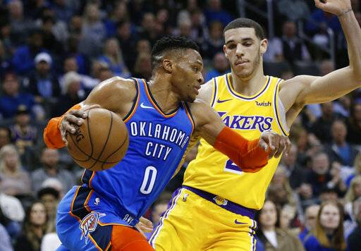 Oklahoma City Thunder guard Russell Westbrook (0) drives past Los Angeles Lakers guard Lonzo Ball during the first half of an NBA basketball game in Oklahoma City, Thursday, Jan. 17, 2019.