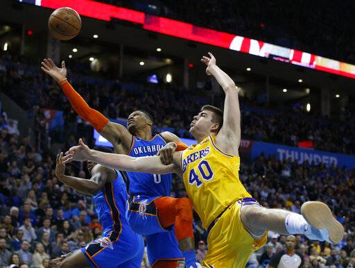 Oklahoma City Thunder guard Russell Westbrook (0) and Los Angeles Lakers center Ivica Zubac (40) reach for a rebound during the first half of an NBA basketball game in Oklahoma City, Thursday, Jan. 17, 2019.