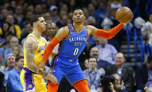 Oklahoma City Thunder guard Russell Westbrook (0) keeps the ball from Los Angeles Lakers guard Lonzo Ball, left, during the first half of an NBA basketball game in Oklahoma City, Thursday, Jan. 17, 2019.