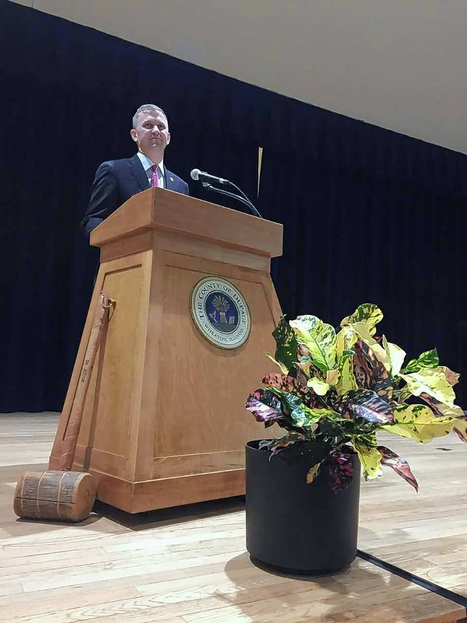 Freshman U.S. Rep. Sean Casten of Downers Grove, a Democrat representing the 6th District, speaks Saturday in Wheaton about the freedom and equality guaranteed in the Constitution after taking his oath of office before a local audience.