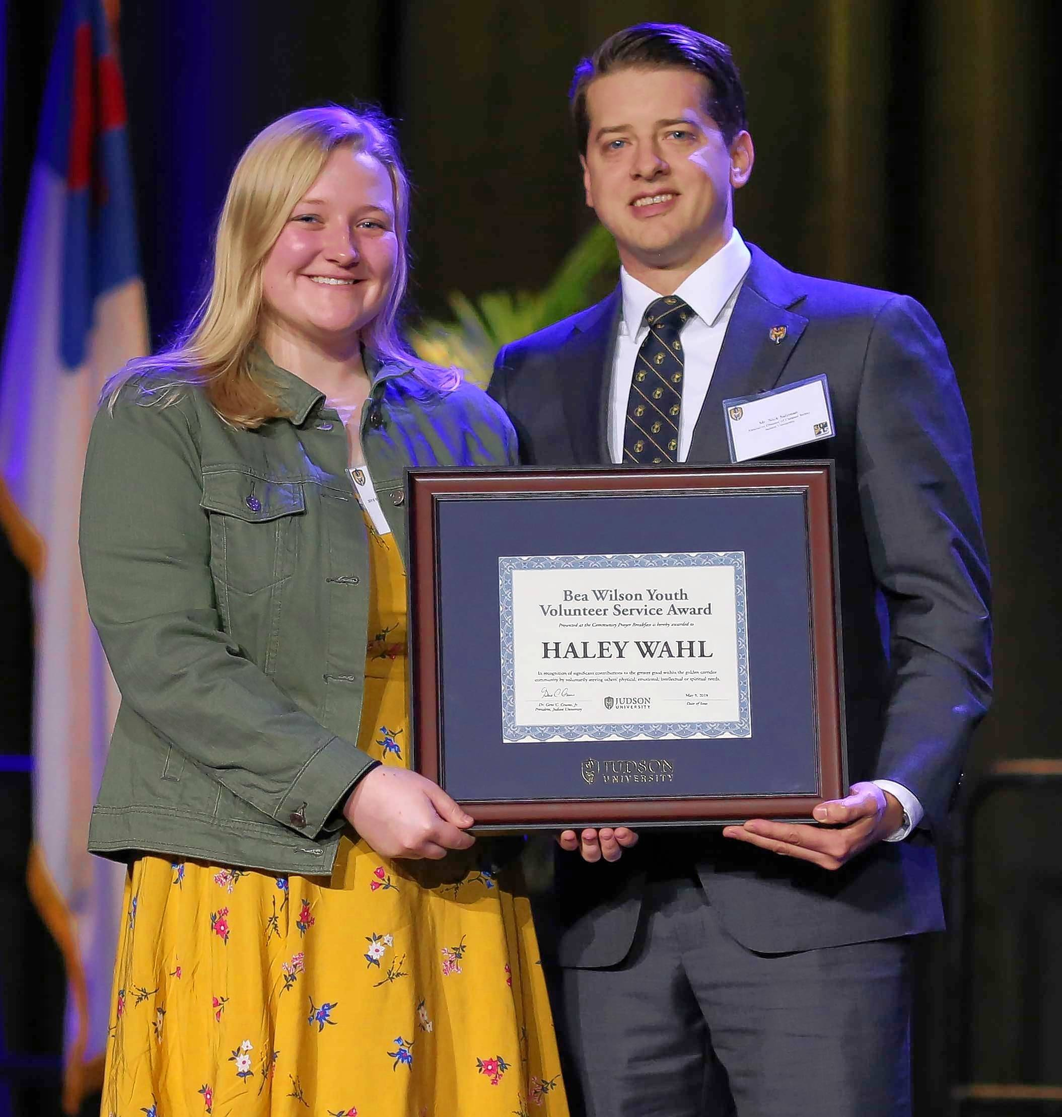 In 2018, Judson University gave the Bea Wilson Youth Award to Elgin High School student Haley Wahl.