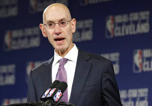 FILE - In this Nov. 1, 2018 file photo, NBA Commissioner Adam Silver announces that the Cleveland Cavaliers will host the 2022 NBA All Star game during a news conference in Cleveland. The NBA is bringing a pro league to Africa. The Basketball Africa League, a new collaboration between the NBA and the sport's global governing body FIBA, was announced Saturday, Feb. 16, 2019.