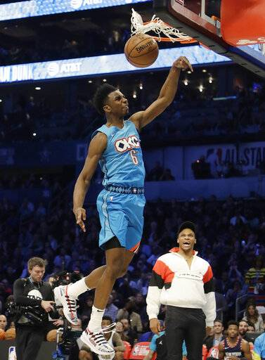 Oklahoma City Thunder Hamidou Diallo heads to the hoop during the NBA All-Star Slam Dunk contest, Saturday, Feb. 16, 2019, in Charlotte, N.C.
