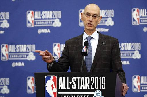 NBA Commissioner Adam Silver speaks during the NBA All-Star festivities, Saturday, Feb. 16, 2019, in Charlotte, N.C. The 68th All-Star game will be played Sunday.