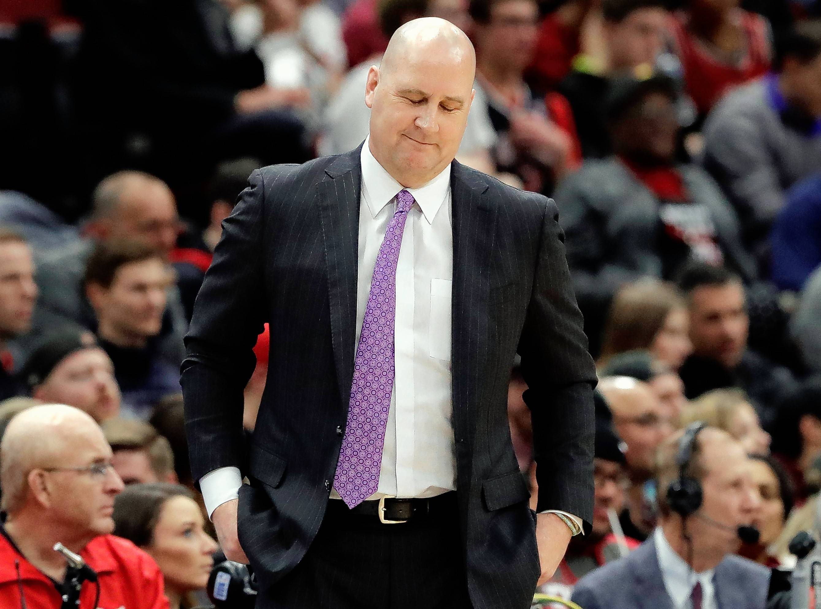 Chicago Bulls coach Jim Boylen, seen here during a March 8 game against Detroit, was part of an unusual double-coach ejection Friday with Clippers coach Doc Rivers.