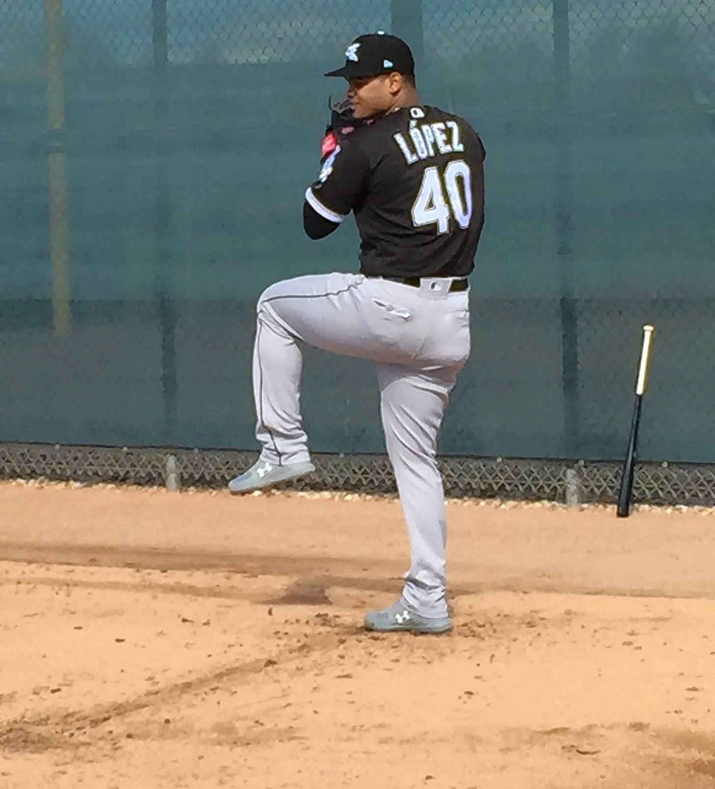 Chicago White Sox starting pitcher Reynaldo Lopez warms up during a spring-training workout.