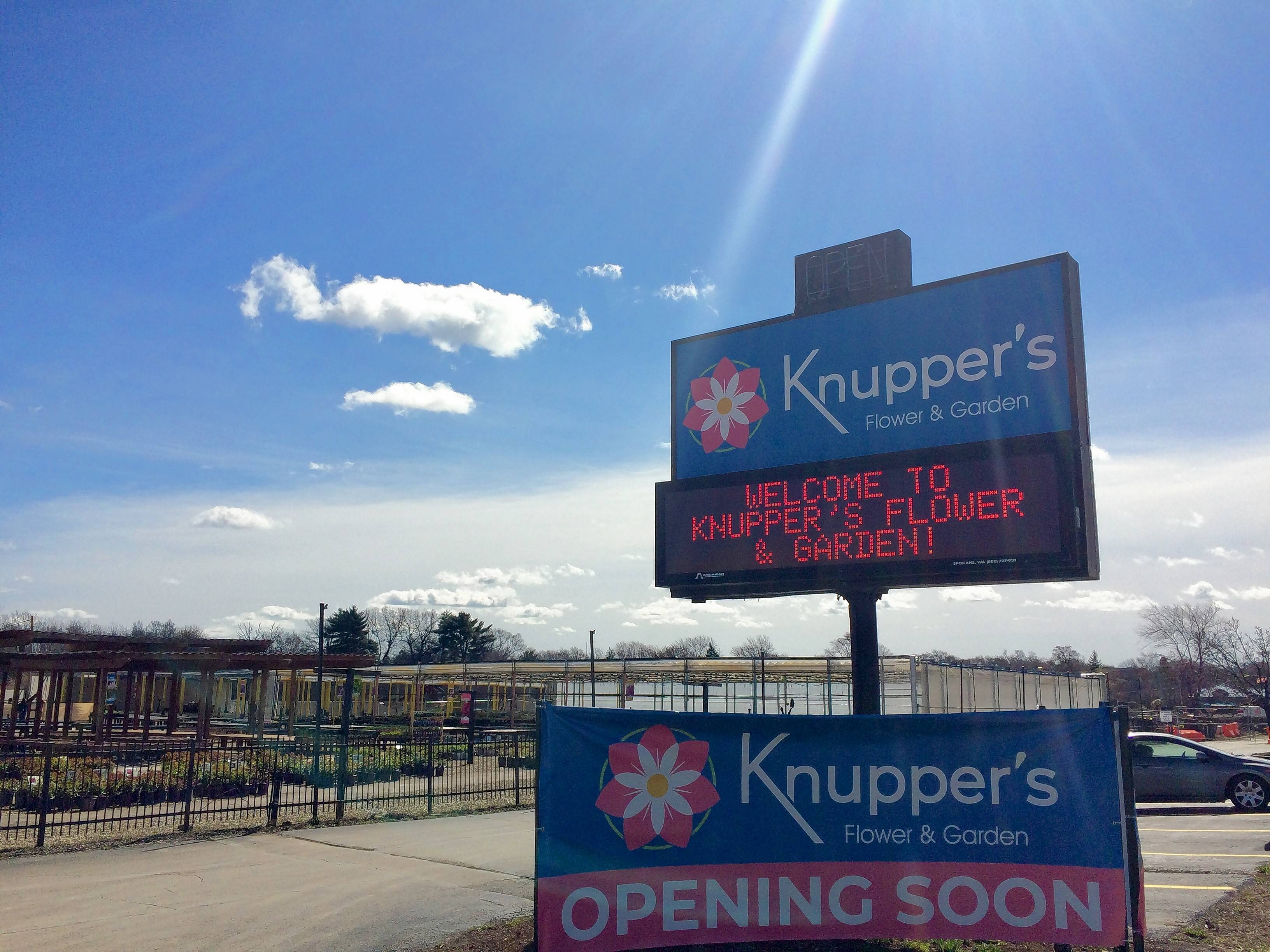 This is a new sign off Rand Road in Palatine for Knupper's Flower & Garden opening this week. It's on the same site as Knupper Nursery & Landscape, which closed in June.