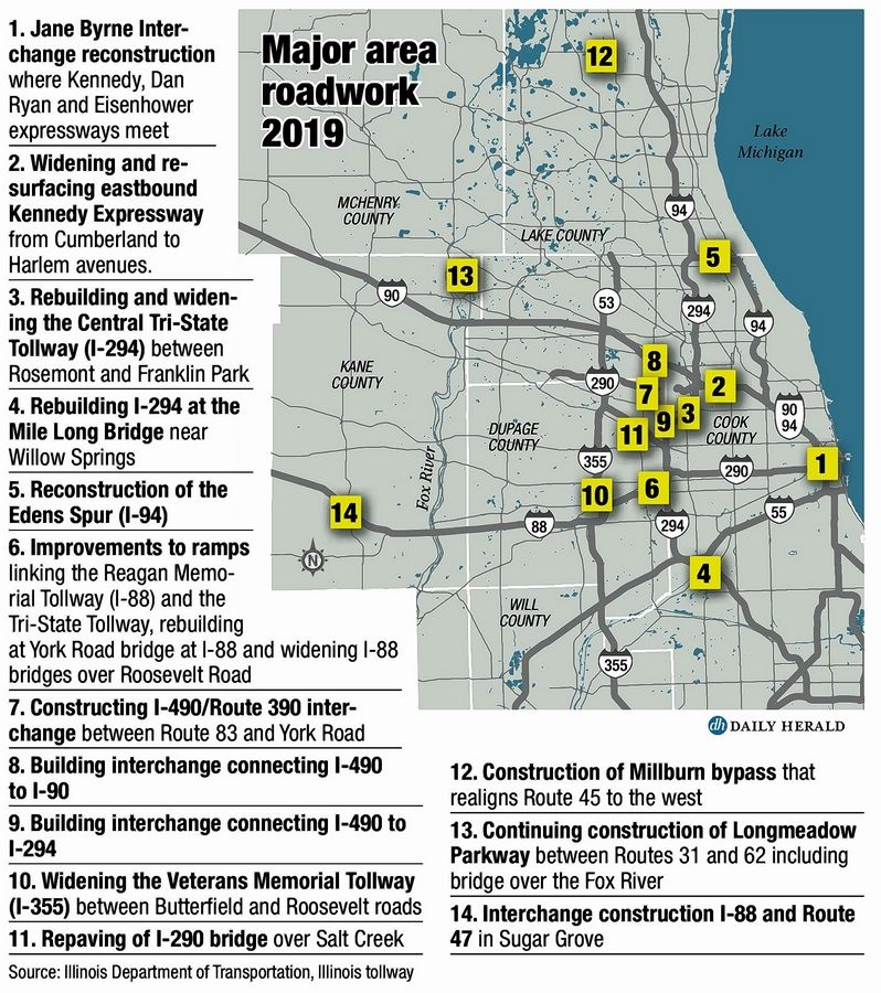 Daily Herald graphicThere are 14 major road projects slated for the Chicago area this year.