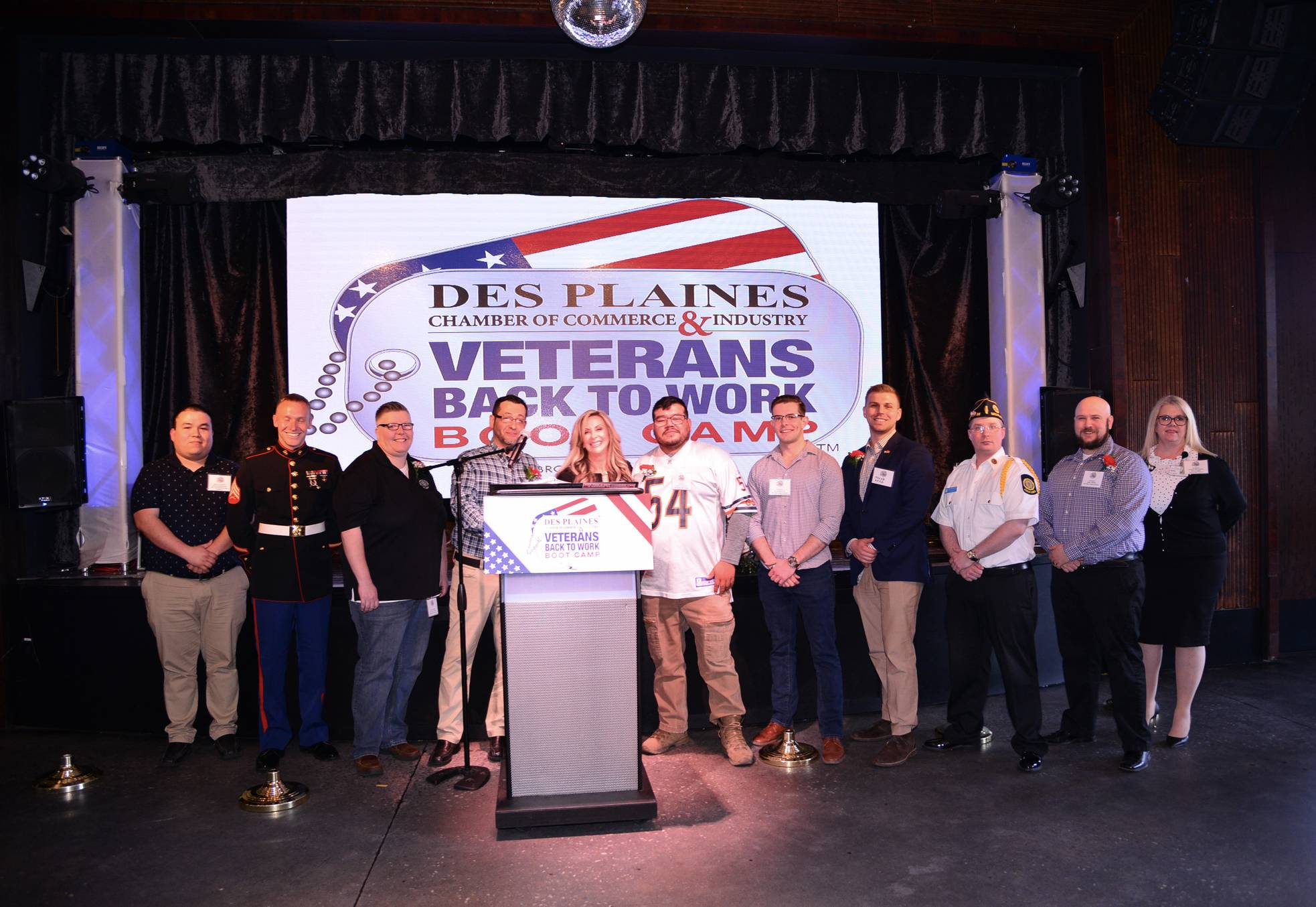 Among those on hand for the announcement of a third year of the Back-to-work Boot Camp were, from left, 2017 Veteran Boot Camp graduate Jason Rodriquez, 2018 graduate Joseph Lutsch, Shannon Lechner, Jaime Cruz, Executive Director of Des Plaines Chamber Andrea Biwer, 2018 graduate Angel Santoyo, 2017 graduate Evan Franck, Jacob Reed, Ryan Flurkey, Rory Patrick and Marne Deithorn.