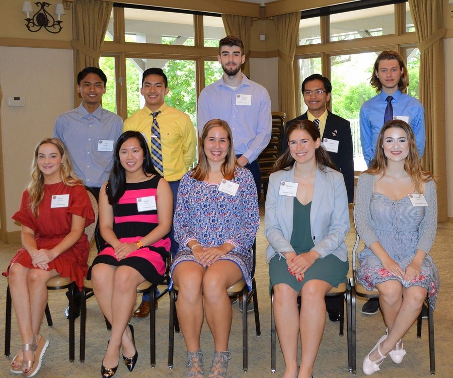 Fourteen students were awarded scholarships in the Bloomingdale Chamber of Commerce Scholarship program. Pictured, attending the June 13 scholarship breakfast, are: first row, from left, Alexis DiMeo, Regine Basilio, Carly Borre, Michaela Brant, and Clarissa Consoli; and back row, Samuel Abe Dela Rosa; Randel Basilio, Angelo Griffin, Jeromel Lara and Alex Sowa.